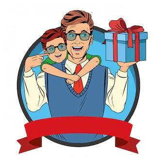 Uomo che trasporta un ragazzo con una confezione regalo