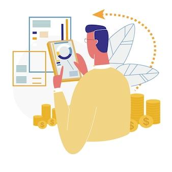 Uomo che usando l'analisi di finanza di app mobile banking