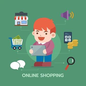 Uomo che utilizza il tablet per lo shopping online con l'icona di e-commerce. composizione infografica