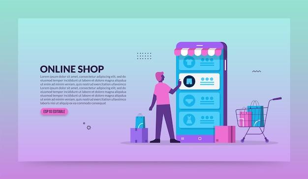 Uomo che utilizza l'applicazione mobile per lo shopping online, il negozio di dispositivi mobili e il concetto di e-commerce