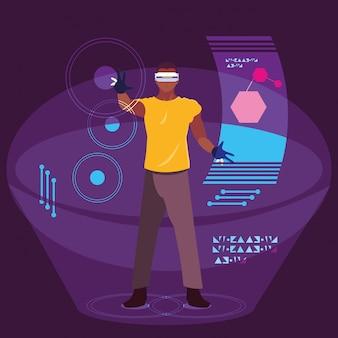 Uomo che utilizza la tecnologia della realtà aumentata