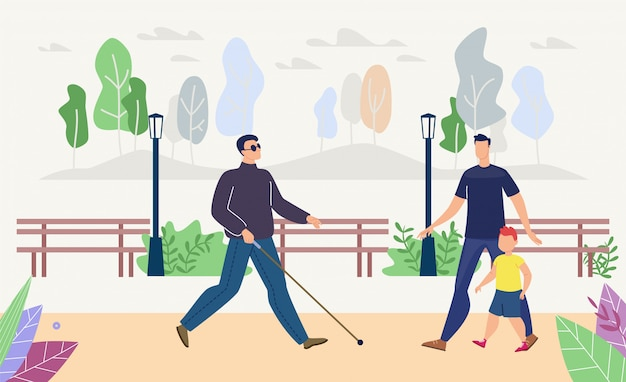 Uomo cieco che cammina nel parco piatto