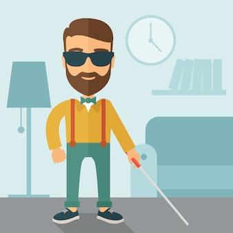 Uomo cieco con bastone da passeggio