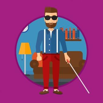 Uomo cieco con bastone