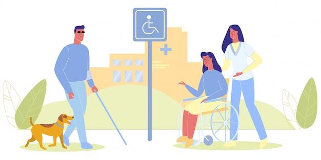 Uomo cieco con cane infermiera con donna in sedia a rotelle
