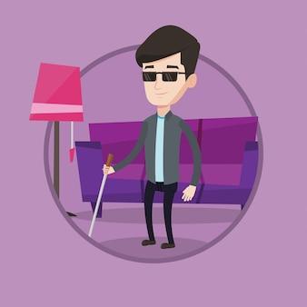 Uomo cieco con l'illustrazione di vettore del bastone da passeggio.