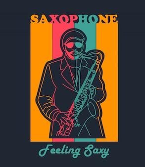 Uomo colorato suonare il sassofono