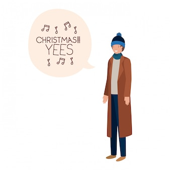 Uomo con abiti invernali e nuvoletta
