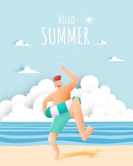 Uomo con anello di nuotata con illustrazione bella spiaggia e cielo