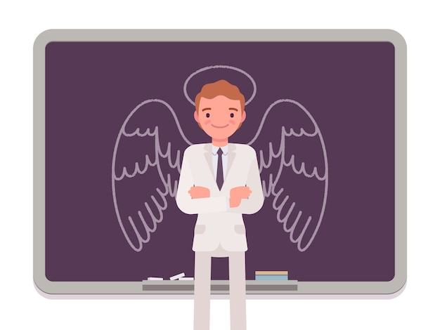 Uomo con angelo disegnato