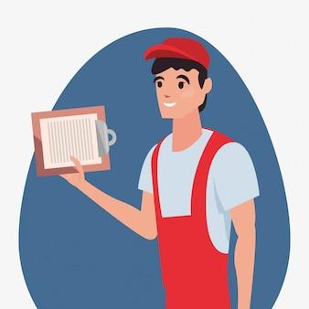 Uomo con appunti consegna veloce logistica
