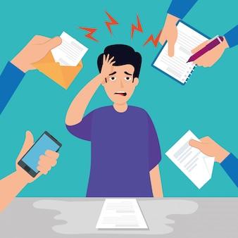 Uomo con attacco di stress sul posto di lavoro con sovraccarico di lavoro