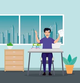 Uomo con attacco di stress sul posto di lavoro