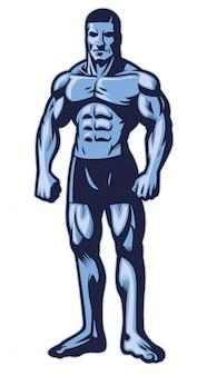 Uomo con bodybuilder muscolare