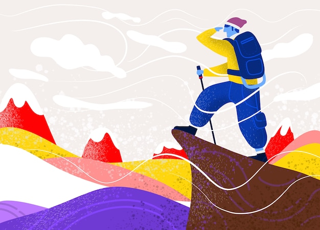 Uomo con borsa sulla roccia. sport estremi all'aperto. scalare le montagne.