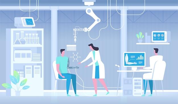 Uomo con braccio bionico. mano artificiale. medicina futura.