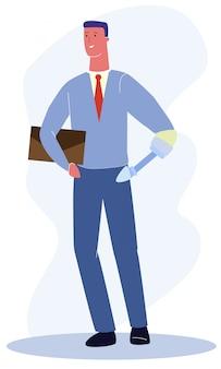 Uomo con braccio protesico meccanico in tuta da ufficio