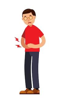Uomo con carattere addominale mal di stomaco