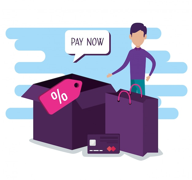 Uomo con carta credi e pacchetto shopping online