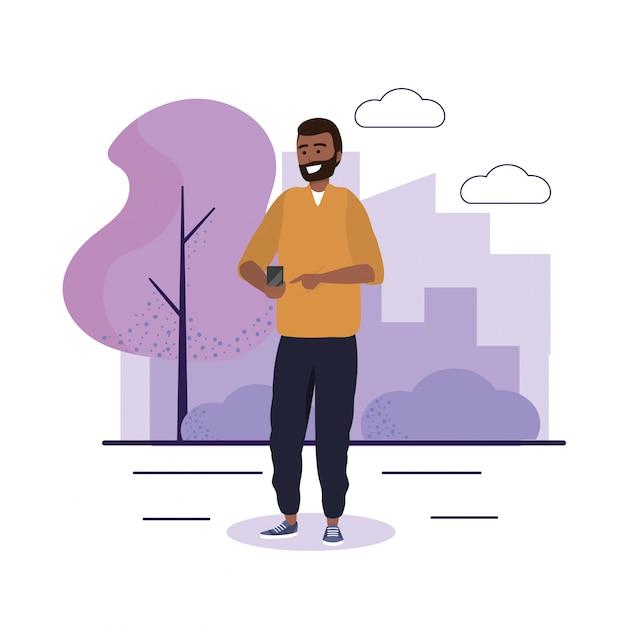 Uomo con comunicazione smartphone e abbigliamento casual
