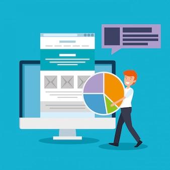 Uomo con diagramma statistiche ufficio e documento finanziario