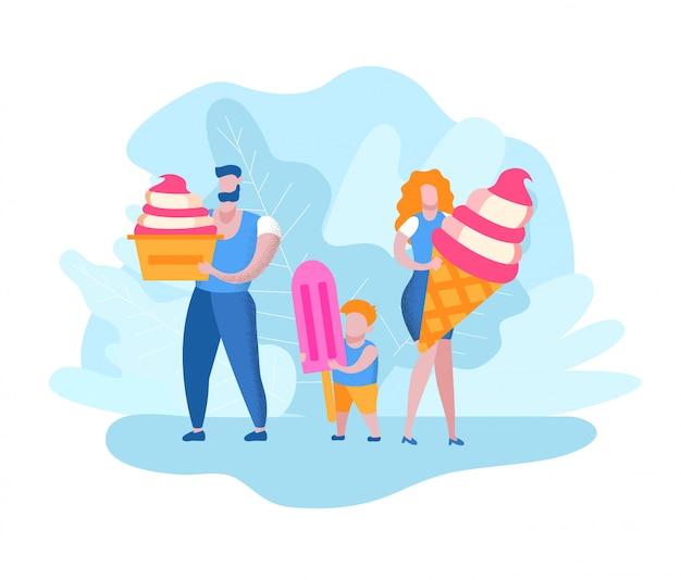 Uomo con donna e ragazzo con gelato nelle mani