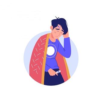 Uomo con febbre alta. concetto di carattere di malattia epidemica. uomo malato con sintomo della malattia di coronavirus - febbre. uomo con un segno freddo, icona di infezione virale respiratoria.