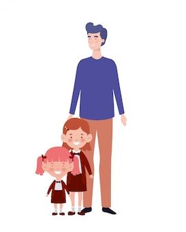 Uomo con figli di ritorno a scuola