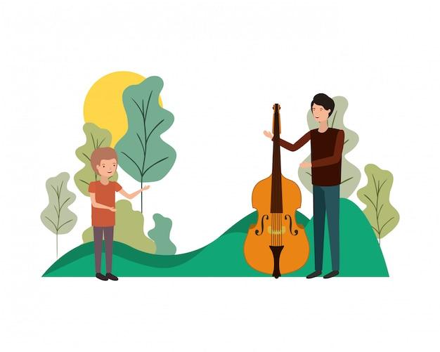 Uomo con figlio e violino personaggio avatar