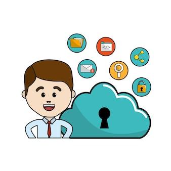 Uomo con icone di wifi e tecnologia dati cloud