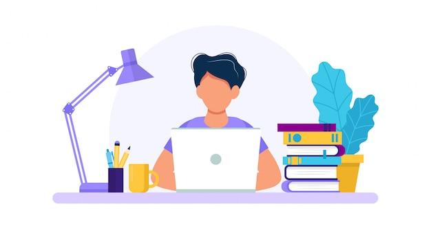 Uomo con il concetto del computer portatile, di studio o di lavoro.