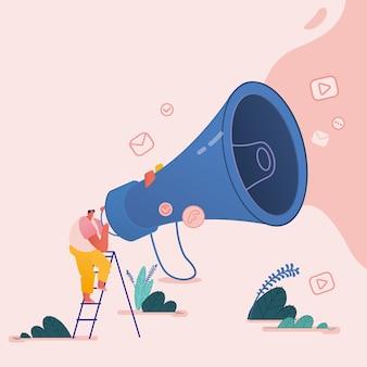 Uomo con il megafono, personaggi di persone per fare riferimento a un concetto di amico. programma fedeltà di marketing referral, metodo di promozione per pagina di destinazione, modello, interfaccia utente, web, poster.