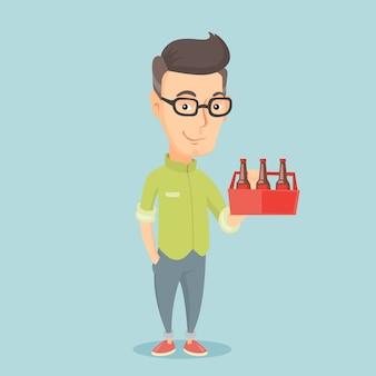 Uomo con il pacchetto dell'illustrazione di vettore della birra.