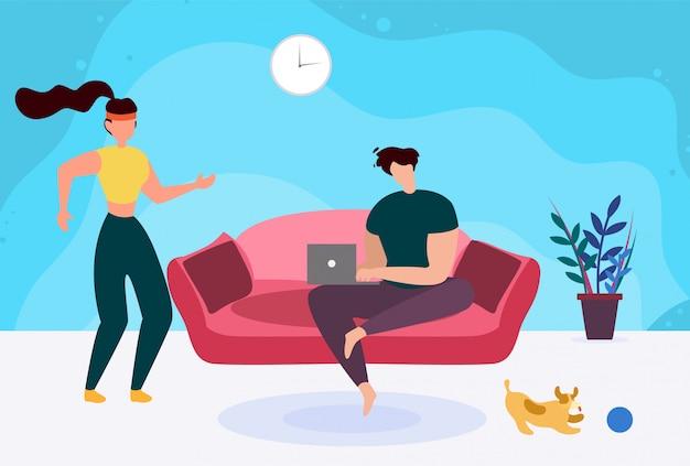 Uomo con il portatile sul divano e cartone animato sportivo donna attiva