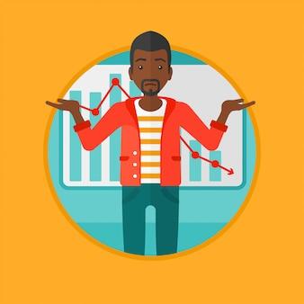 Uomo con illustrazione di vettore di grafico decrescente.
