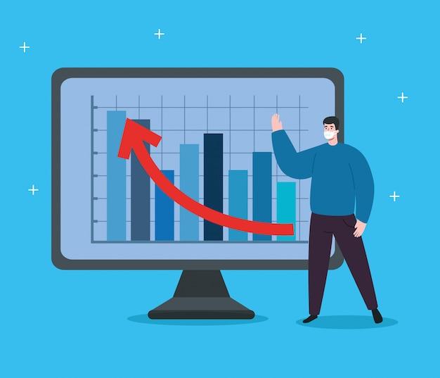 Uomo con infografica di recupero finanziario nel computer