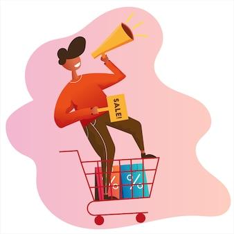 Uomo con l'illustrazione della campagna di promozione di vendita di vendita del megafono