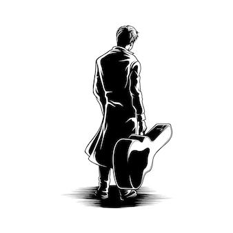 Uomo con l'illustrazione della parte posteriore di vista della chitarra