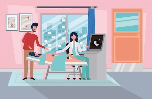 Uomo con la donna di gravidanza in clinica prendendo ultrasuoni