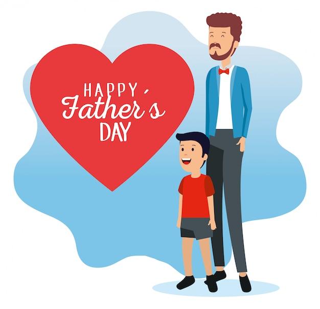 Uomo con la figlia e la carta del cuore di padri