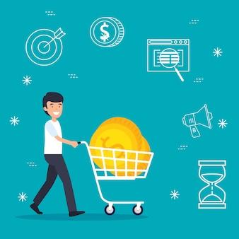 Uomo con la macchina dello shopping e monete d'affari