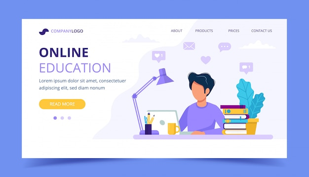 Uomo con la pagina di destinazione del computer portatile, l'istruzione o il concetto di lavoro.