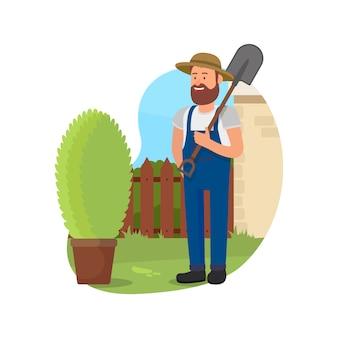 Uomo con la pala in mano vicino a bush in legno.