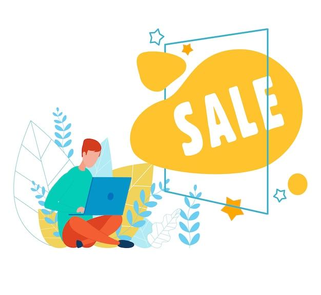 Uomo con laptop e annuncio di vendita in cornice cartoon