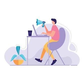 Uomo con laptop gridando da megafono