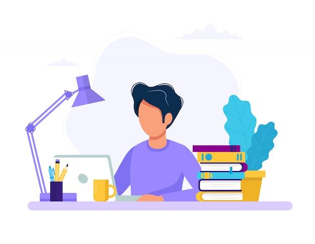 Uomo con laptop, istruzione o concetto di lavoro