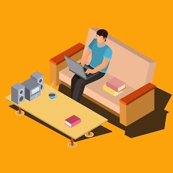 Uomo con laptop sul divano a casa vettore isometrico