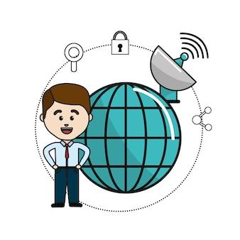 Uomo con le informazioni globali di dati e le icone di sicurezza wifi
