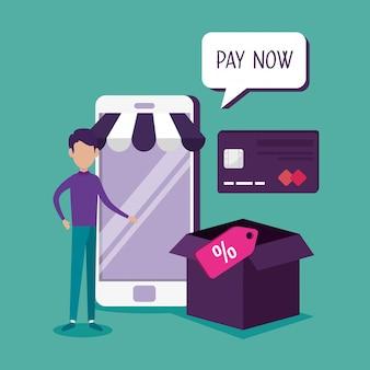Uomo con lo smartphone che compra online