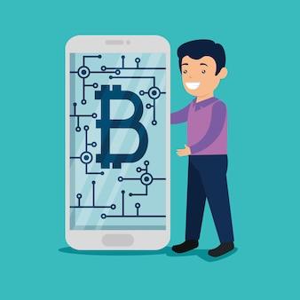 Uomo con lo smartphone con valuta bitcoin digitale